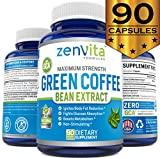 Pure Green Coffee Bean Extract – 90 Capsules, with GCA Green Coffee Antioxidant, Non-GMO & Gluten Free, Standardized 50% Chlorogenic Acid, Maximum Strength Natural Weight Loss Supplement