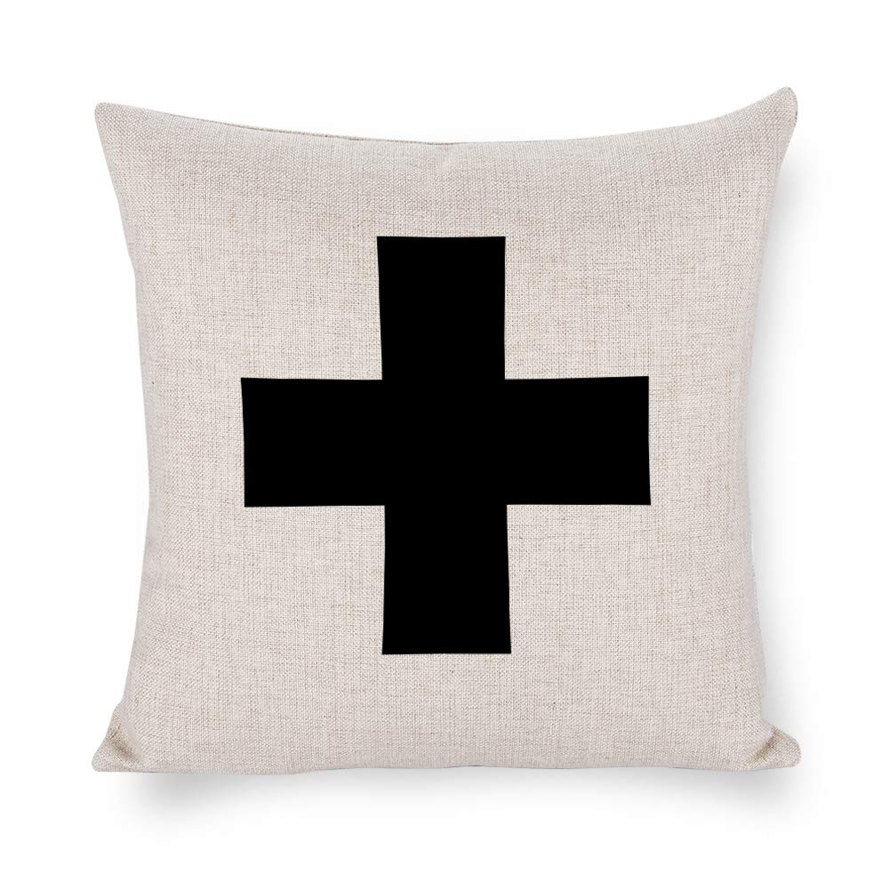 TINA-R Swiss Cross 18x18 Inch Pillow Cover Everyday Throw Pillow Gift Accent Pillow Cushion Cover