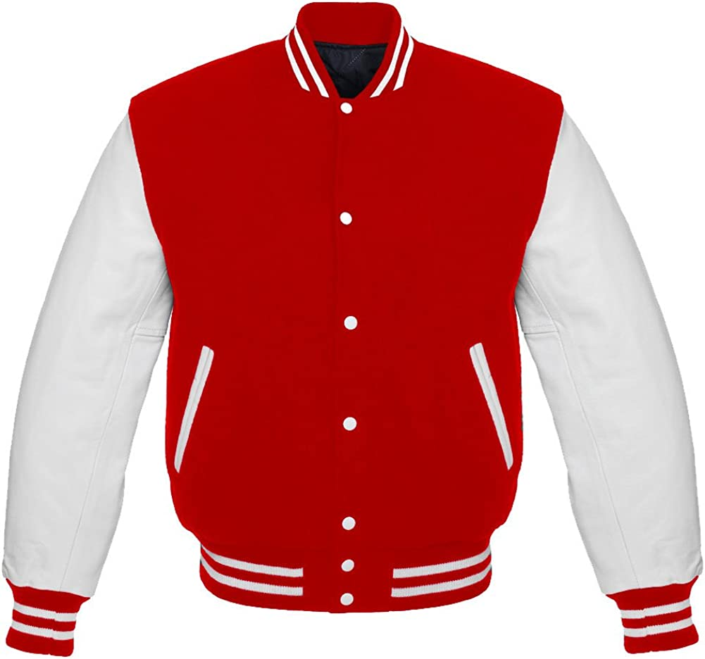 White Leather Sleeves Wool Varsity Hoodie White//rED