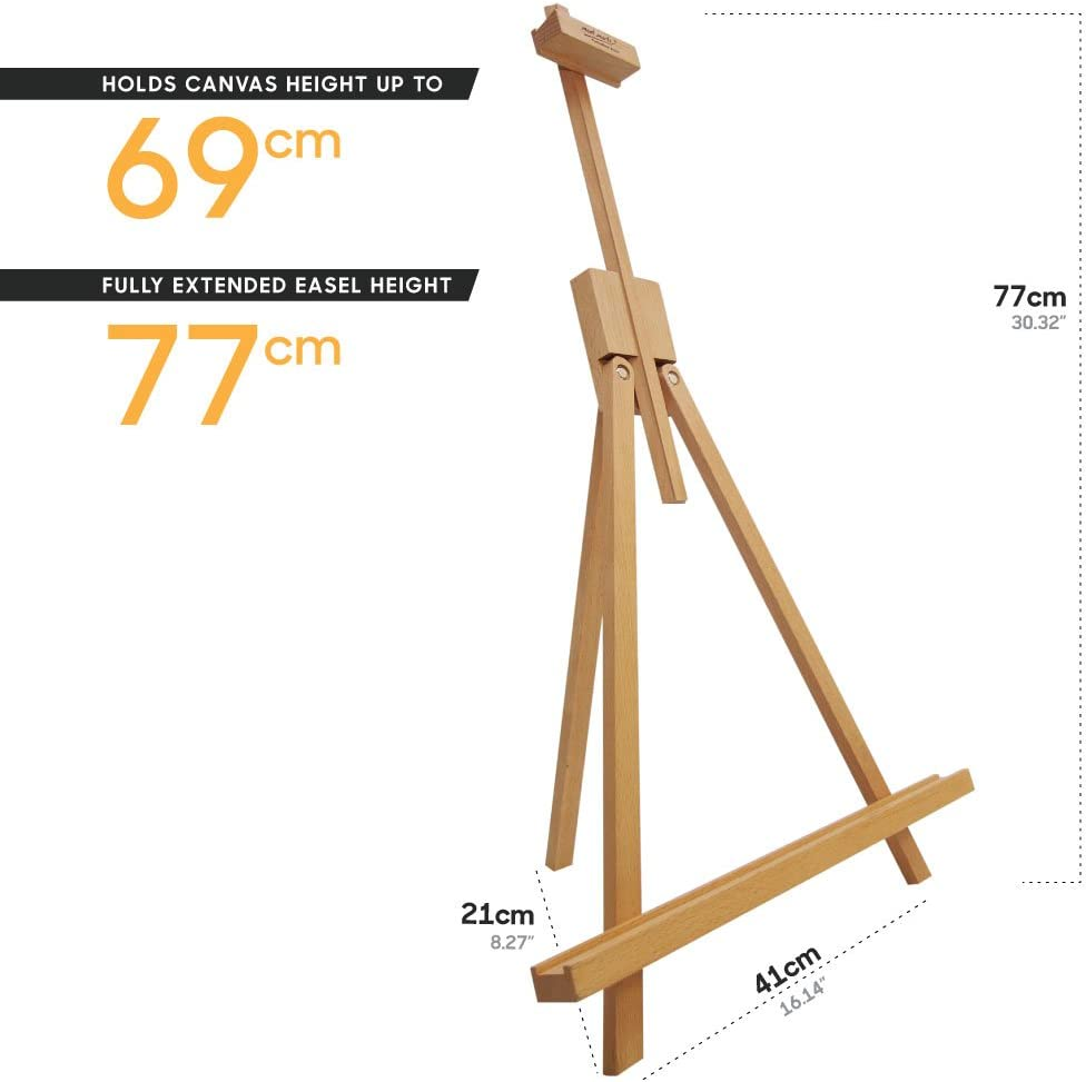 . Holds Canvas Height up to 27in Mont Marte Table Top Easel Beech Wood 69cm