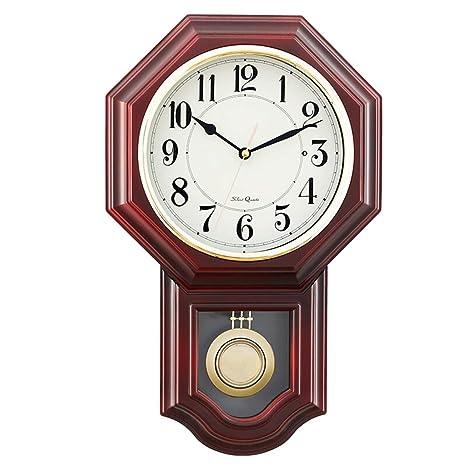 *Los relojes de pared Reloj de pared Sin tictac Funciona con batería Número decorativo Péndulo