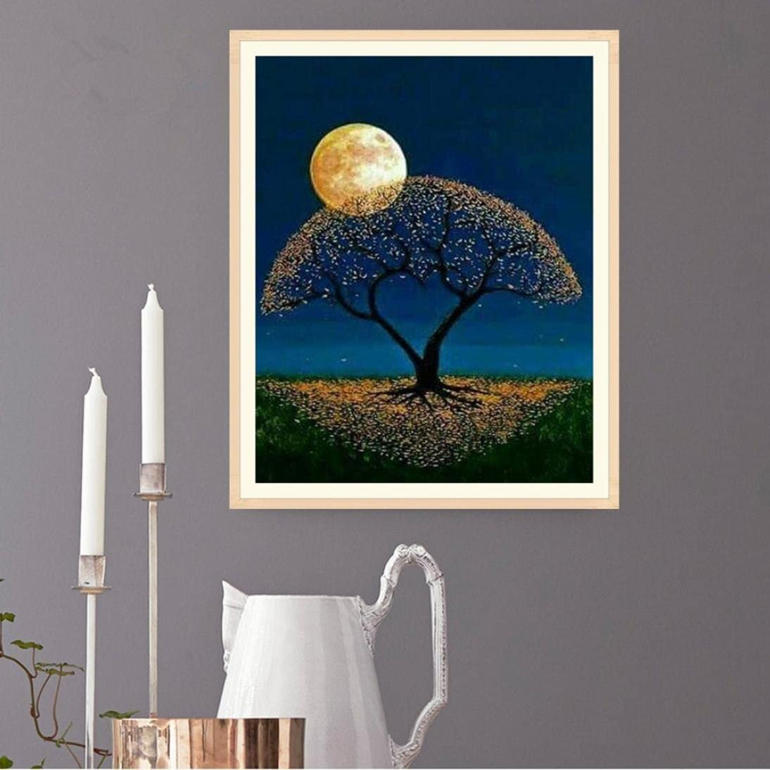 Yeefant Moonlight Tree Embroidery Paintings No Fading 5D Canvas Rhinestone Pasted Pasted DIY Diamond Cross Stitch Home Wall Decor for Bedroom Living Room,10x12 Inch