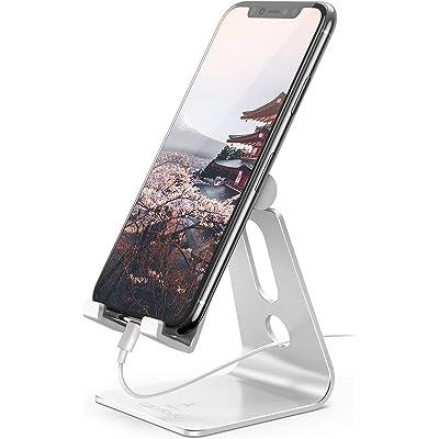 Lamicall Soporte Móvil, Multiángulo Soporte Teléfono - Soporte Dock Base para Phone 11 Pro MAX, XS MAX, XS, XR, X, 8, 7, 6 Plus, 5, SE, Samsung S10 S9 S8 S7 S6, Huawei, Otras Smartphones - Plata