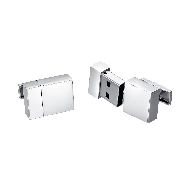 Yoursfs Boutons de manchette Acier inoxydable 16GB USB pour Homme pour Chemise Business Mariage comme cadeau ou Accessoire Italina KC023W1-UK