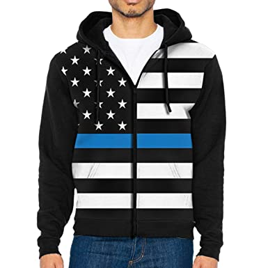 633d6f6af5a Amazon.com  Mens Pullover Hood Thin Blue Line American Flag Zip Hoodies  Hooded Classic Jackets Coats  Clothing