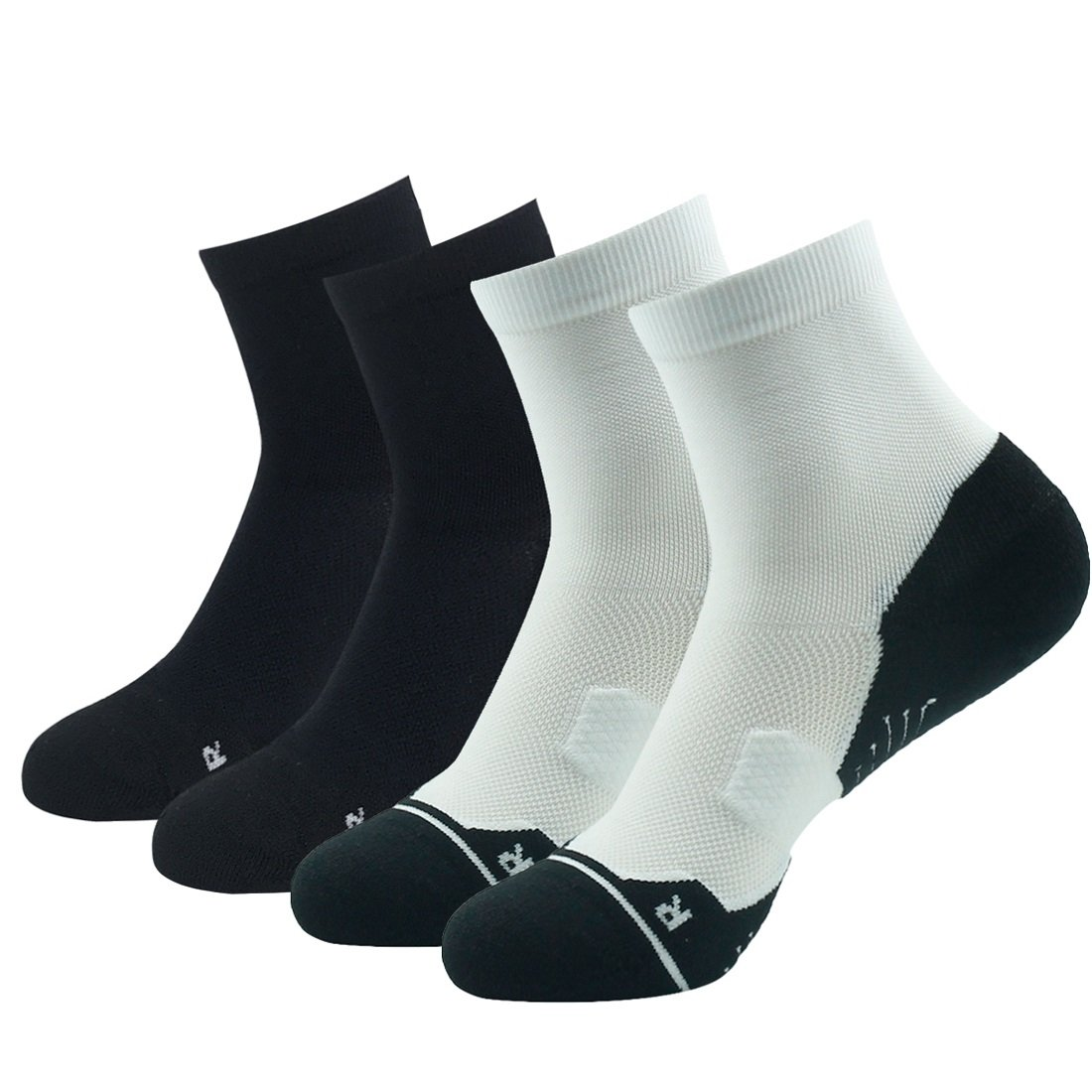 2 Pack Black & 2 Pack White Running Socks Support, HUSO Men Women High Performance Arch Compression Cushioned Quarter Socks 1,2,3,4,6 Pairs