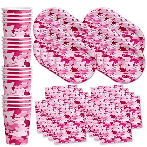 Pink Camo Birthday Party Supplies Set Plates Napkins Cups Tableware Kit for 16]()