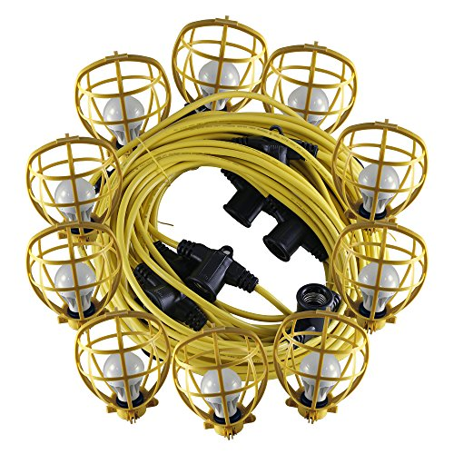 Build Zone Construction string lights with 10 Led Bulbs and yellow guard 100 foot (Construction String Lights)