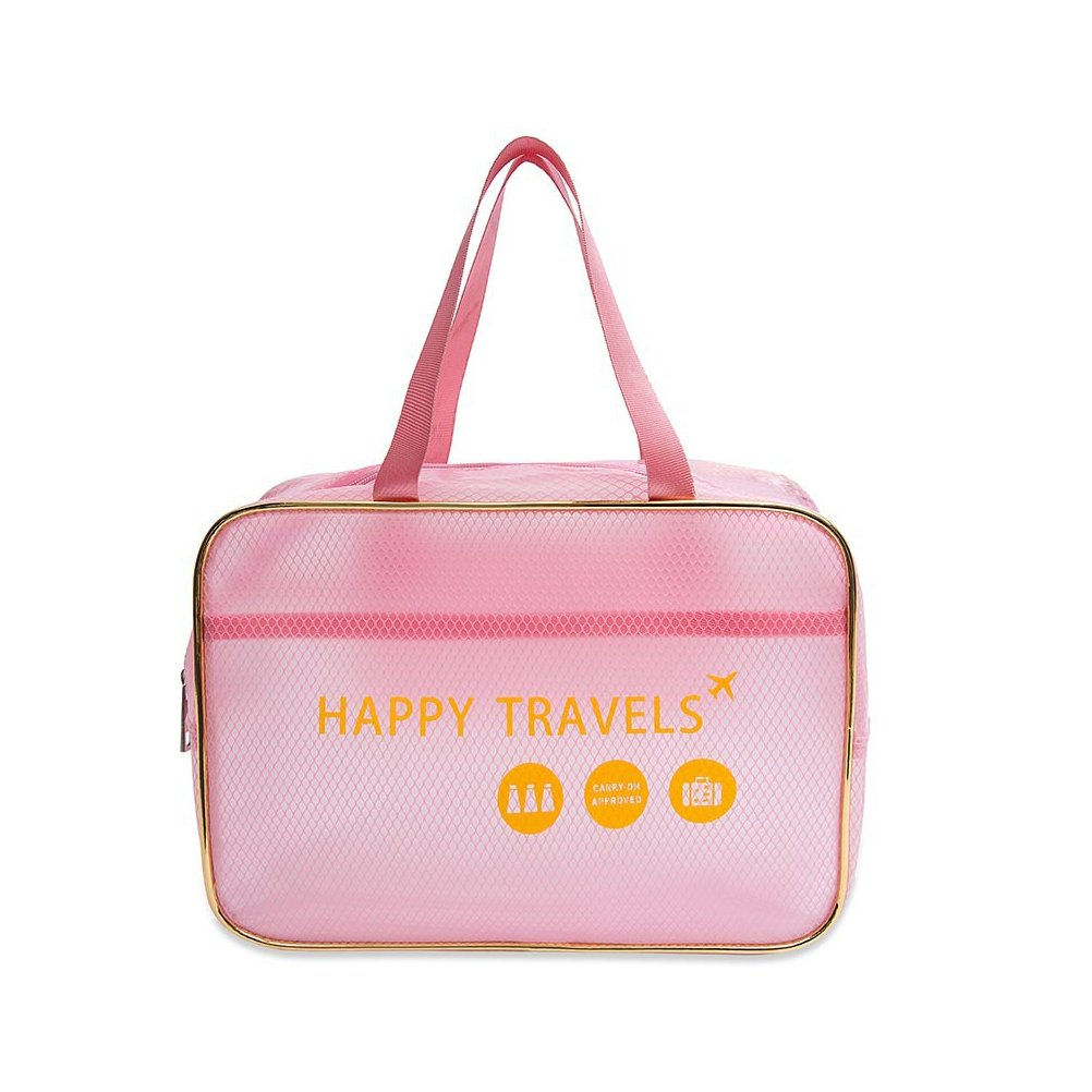 Top Handle Handbags Summer Transparent waterproof handbag Swim Beach Travel Washing Cosmetic Hand bagPurse, Stadium Approved, Clear Makeup Bag With Handle (Pink)