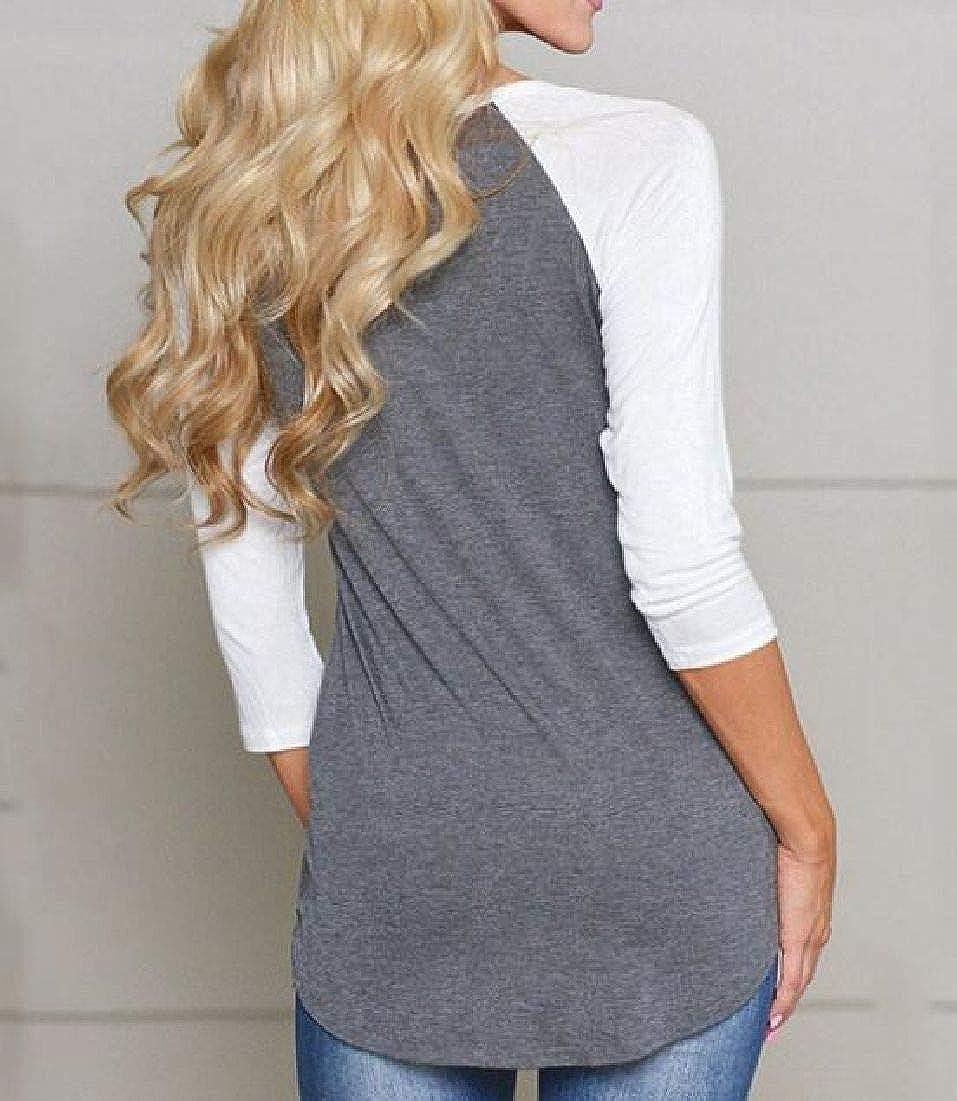Zantt Womens Casual Raglan Sleeve Baseball Top Color Block Blouse Top T-Shirts