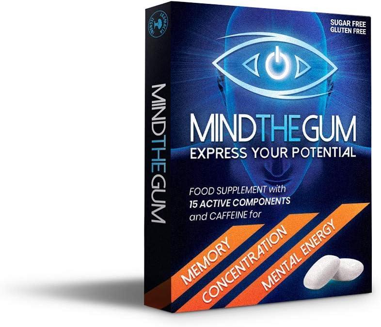 MIND THE GUM - Integratore per Concentrazione, Memoria ed Energia Mentale in Chewing-Gum. L'unico con ben 15 componenti attive. Confezione da 9 Gomme, gusto Menta.