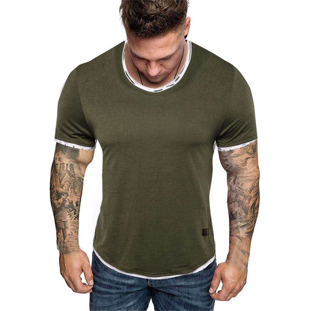 Kiasebu Mens Short Sleeve Round Neck Slim Fit Muscle T-Shirts Fitness Tee Tops Bodybuilding Shirts for Men