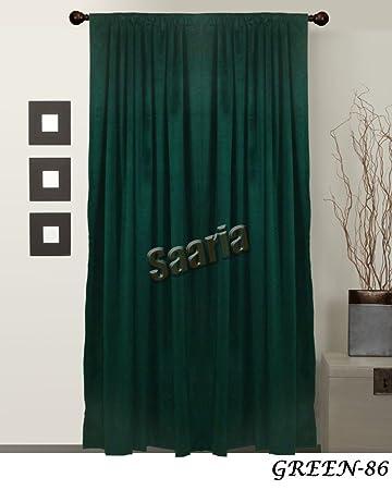 Green Curtains amazon green curtains : Amazon.com: SAARIA Green Velvet Decorative Room Drapes Panel 10 ft ...