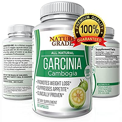 100% Pure Garcinia Cambogia Extract 60% HCA - One Month's supply - Best Weight Loss Supplement - Burn Fat Fast - Natural Appetite Suppressant - Money Back Guarantee