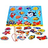 Rolimate 14-Piece Fishes Basic Educational Development Wooden Magnetic Bath Fishing Travel Table Game, Birthday Gift Toys for age 2 3 4 Year Old Kid Children Baby Toddler Boy Girl Magnet Toy