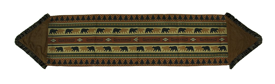 Forest Bears Rustic Lodge Fringed Fabric Table Runner 72 X 15 Inch Zeckos