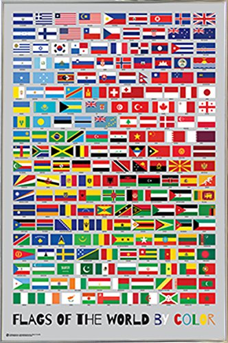 Flags of the World By Color Poster  in a Silver Metal Frame