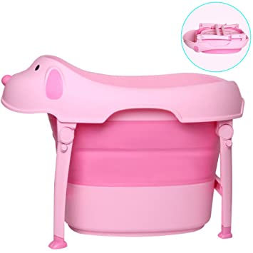 WINGOFFLY Premium Quality Dog Shaped Collapsible Kids Bathtub With Seat (Pink)