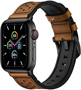Mifa [Upgraded] Compatible w/Apple Watch Band 44mm 42mm Series 5 4 3 Rugged Hybrid Sports Leather Vintage Dressy Dark Replacement Strap Sweatproof iwatch Nike Space Black Grey Men Classic Brown