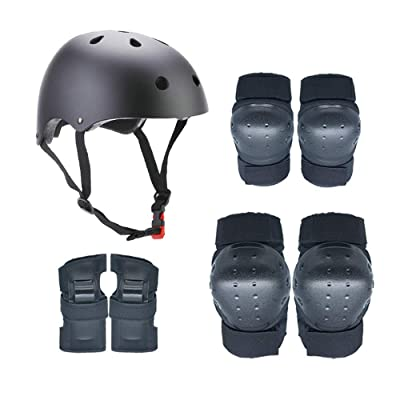No-branded Protective Gear Sets Outdoor Sports Protective Gear Set Boys Girls Cycling Adjustable Helmet Safety Pads Set Knee Elbow Pads ZRZZUS (Color : Black, Size : S): Home & Kitchen