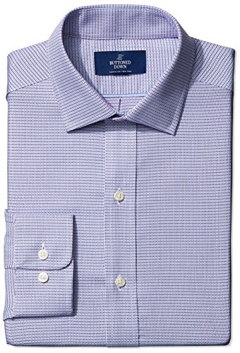 Buttoned Down Men's Classic Fit Spread-Collar Small Geo Non-Iron Dress Shirt, pink/blue, 19.5 39