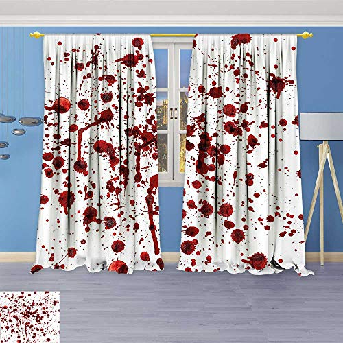 Philiphome Room Darkening Thermal Insulated Blackout Grommet Window Curtain,of Blood Grunge Style Bloodstain Horror Scary Zombie Halloween Themed Print Red White,for Living Room