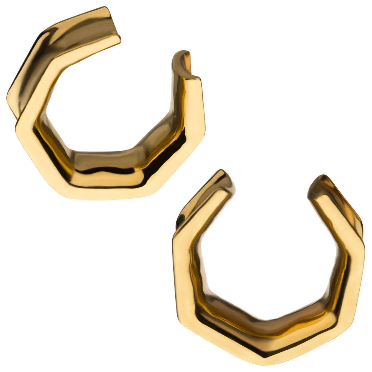 Pair of 0G-19mm Surgical Steel Hexagon Saddle Spreader Plugs (Goldtone 10mm) by BYB Plugs