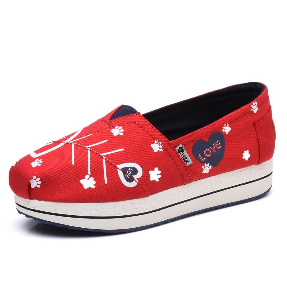 TIOSEBON Women's Canvas Slip-On Toning Shoe Walking Sneaker B06X9L7RFM 6 B(M) US|6602 Red