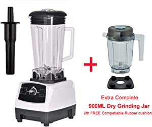 2200W 3Hp 2L G5200 High Power Commercial Home Professional Smoothies Power Blender Food Mixer Juicer Fruit Processor,White Extra Dry Jug,Uk Plug