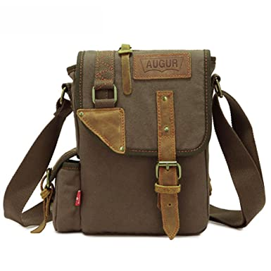 AUGUR Men s Messenger Bags Canvas Bags Crossbody Bags Genuine Leather  Single Shoulder Bags (Army green 64f8dc1fe8836