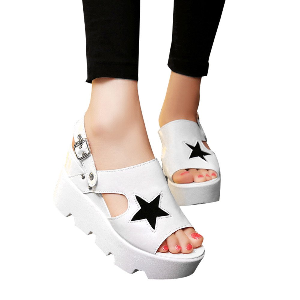 Slippers For Womens -Clearance Sale ,Farjing Women Fish Mouth Non-slip Casual Platform Wedges Buckle Strap Sandals Slippers(US:7.5,White)