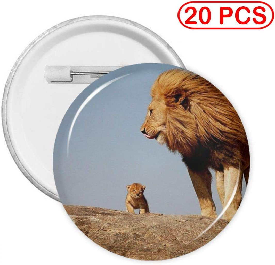 YXXZ Male Lion with Cub Round Badge Brooches and Pins Accessories Multiple Packs