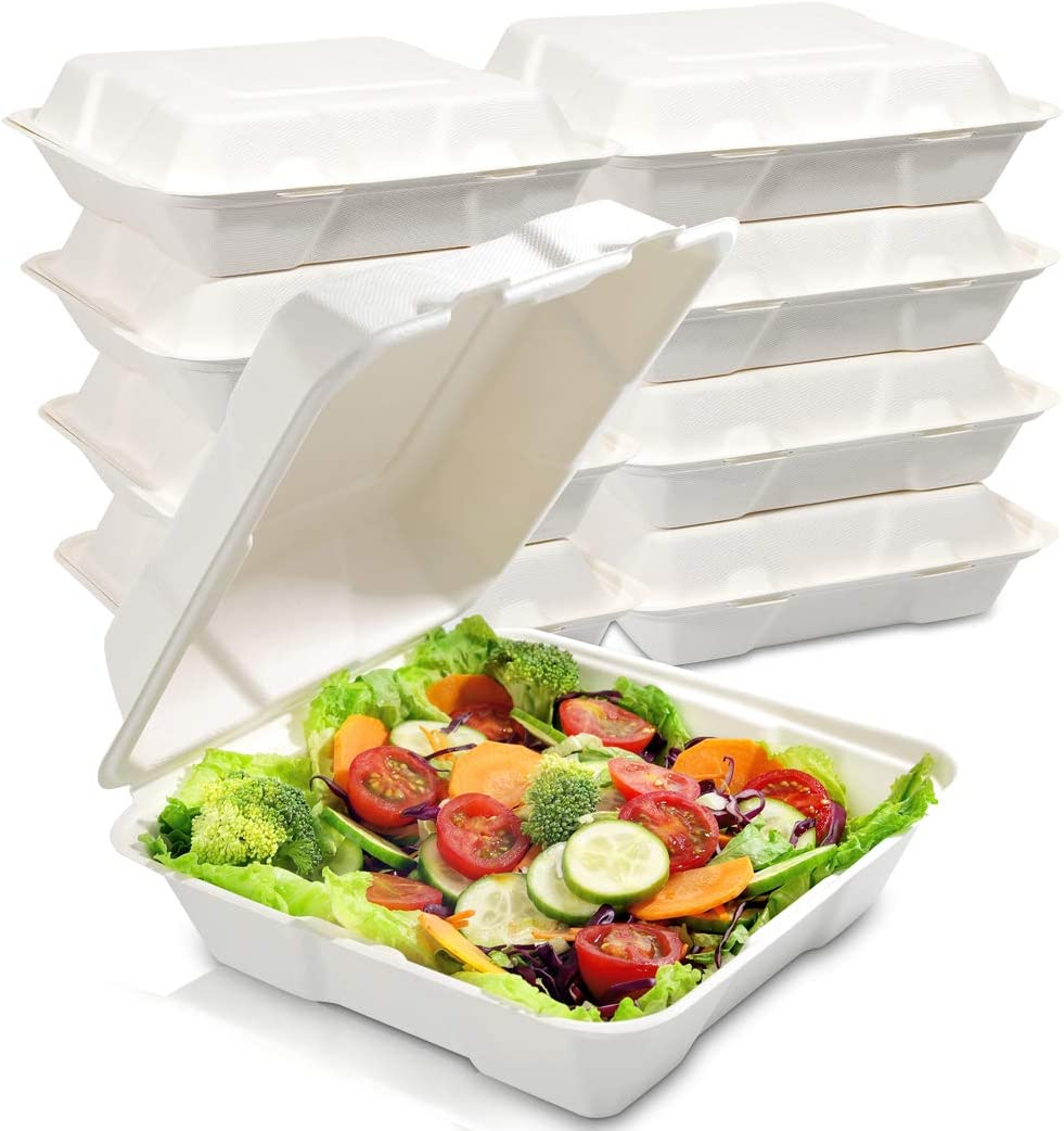 WDF 100Pack 100% Compostable Food Containers-1 Compartment Togo Containers with Lid for Lunch-8inch Biodegradable Food Containers Microwave and Freezer Safe