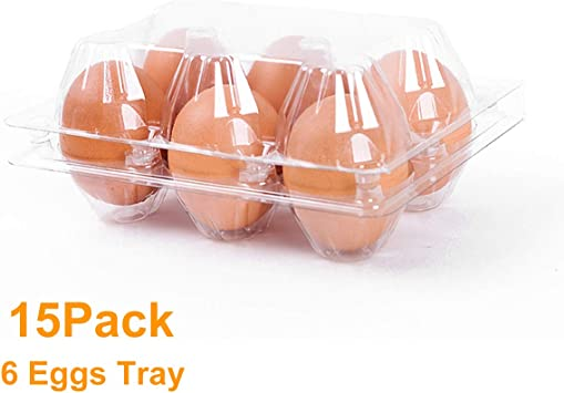Amazon Com 6 Count Egg Cartons Cheap Bulk 15 Pack 100 Recyclable Plastic Egg Carton Stackable For Refrigerator Plastic Clear Egg Trays For Medium Or Small Eggs Home Improvement