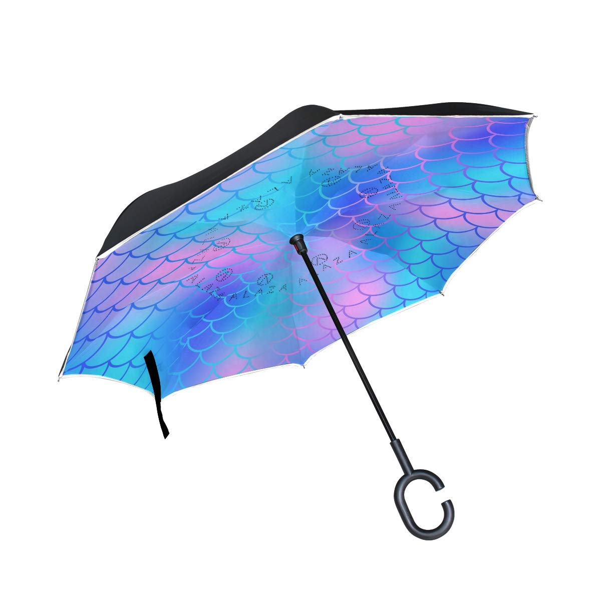 837bfedf3d2e Amazon.com : ATZUCL Beautiful Mermaid Scale Reverse Umbrella with C ...