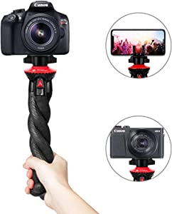 Camera Tripod, Fotopro Flexible Tripod, Tripods for Phone with Phone Clip for iPhone Xs Max, Samsung, Tripod for Camera, Mirrorless DSLR Sony Nikon Canon