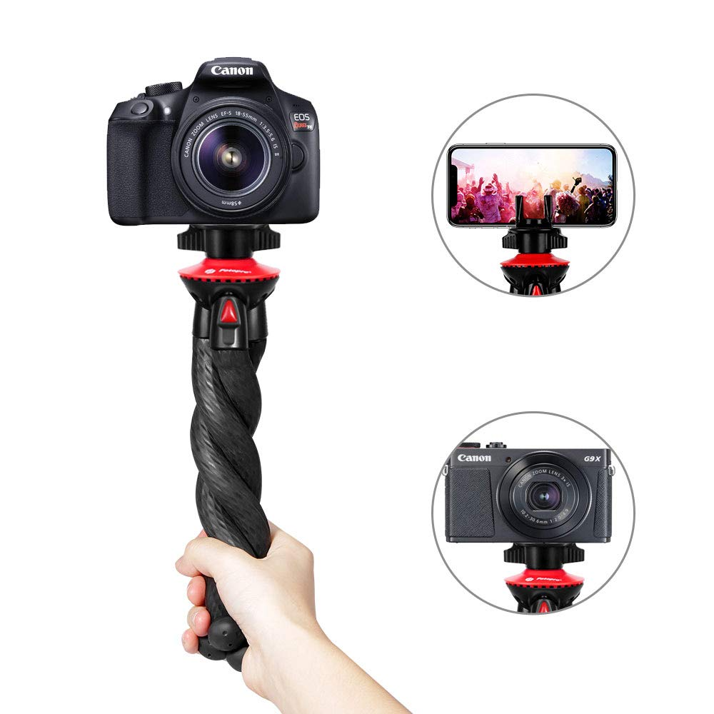 Camera Tripod, Fotopro Flexible Tripod, Tripods for Phone with Phone Clip for iPhone Xs Max, Samsung, Tripod for Camera, Mirrorless DSLR Sony Nikon Canon by Fotopro