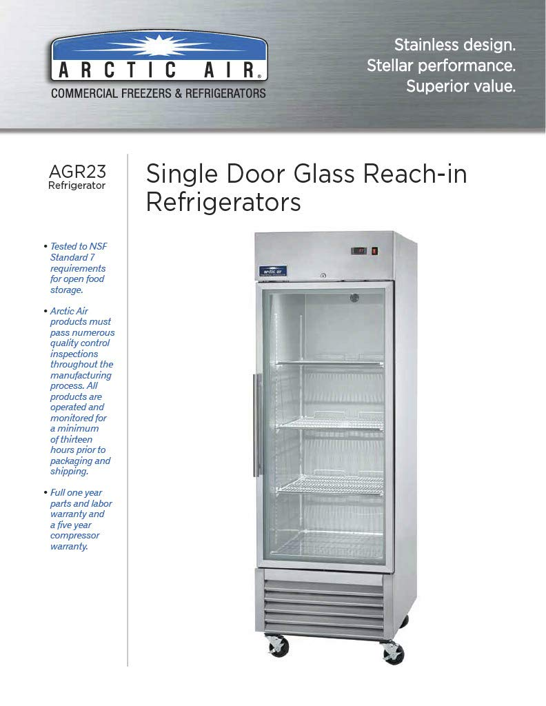 Arctic Air AGR23 27″ One Section Glass Door Reach-in Refrigerator – 23 cu. ft.