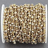 GemAbyss Beads Gemstone 50 Feet Natural Pyrite 3-3.5mm Rosary Style Beaded Chain - Bulk Wholesale Beads Wire Wrapped 24k Gold Plated Chai Code-MVG-14268