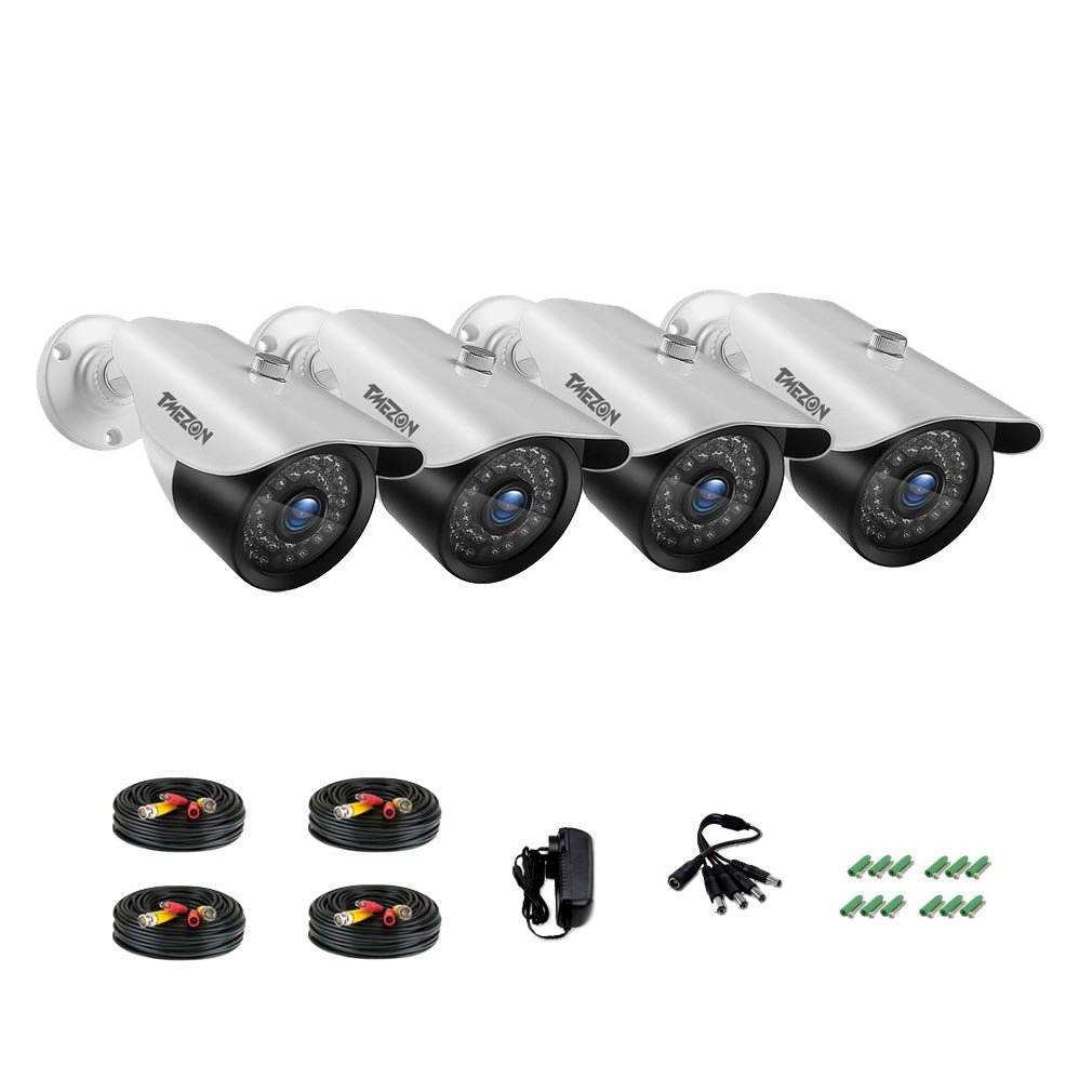 TMEZON 4 Pack AHD Camera 1080P Security Camera Set 2.0MP 3.6mm Lens Outdoor Day Night Vision ONLY work with AHD DVR White Bullet