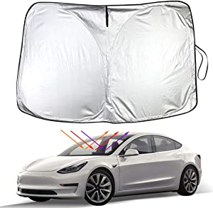 Model 3 Model Y Front Windshield Sunshade Car Auto UV and Sun Protection Front Sun Shade for Tesla Model 3 Model Y(Front Windscreen)
