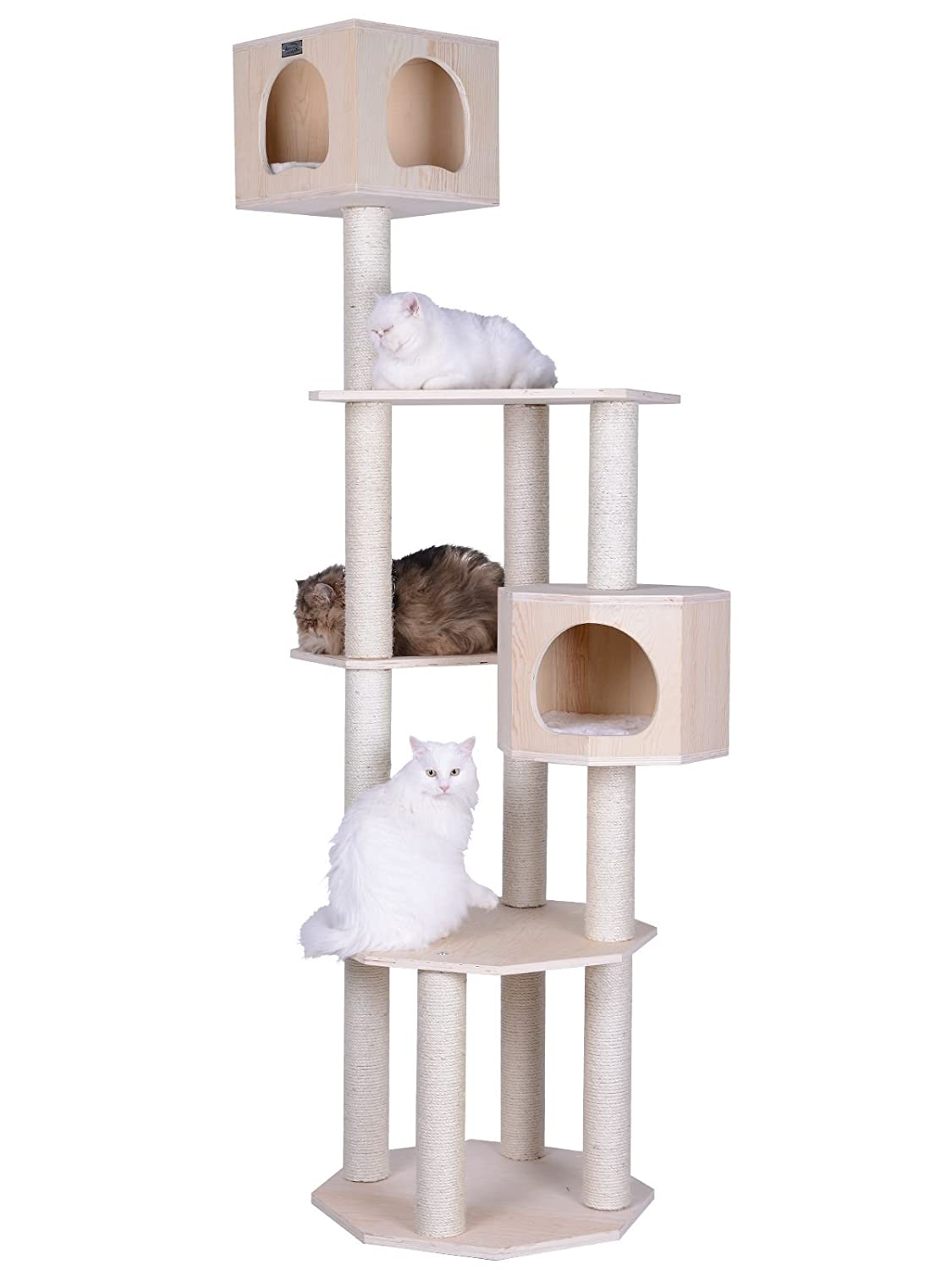 amazoncom  armarkat premium pinus sylvestris wood cat tree condo  - amazoncom  armarkat premium pinus sylvestris wood cat tree condoscratching post kitty furniture tall sturdy light wood and sisal rope  petsupplies
