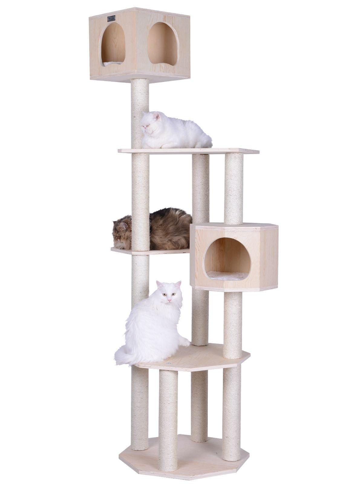 Armarkat Premium Pinus Sylvestris Wood Cat Tree Condo Scratching Post Kitty Furniture Tall Sturdy Light Wood and Sisal Rope