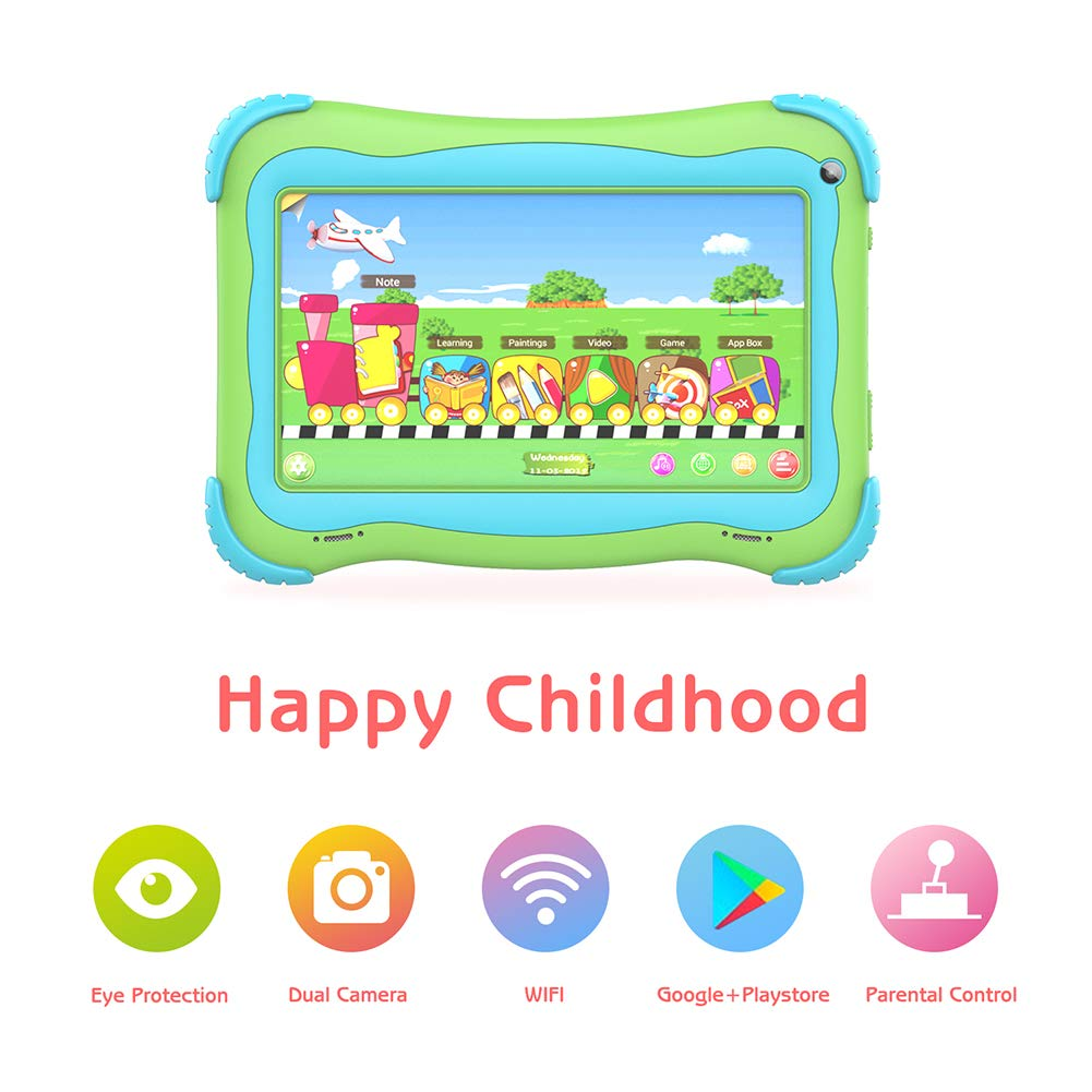 Kids Tablet 7 Android Kids Tablets for Kids Edition Tablet PC Android Quad Core Toddler Tablet with WiFi Dual Camera IPS Safety Eye Protection Screen and Parents Control Mode(Green) by UJoyFeel