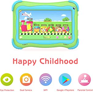 Kids Tablet 7 Android Kids Tablets for Kids Edition Tablet PC Android Quad Core Toddler Tablet with WiFi Dual Camera IPS Safety Eye Protection Screen and Parents Control Mode(Green)