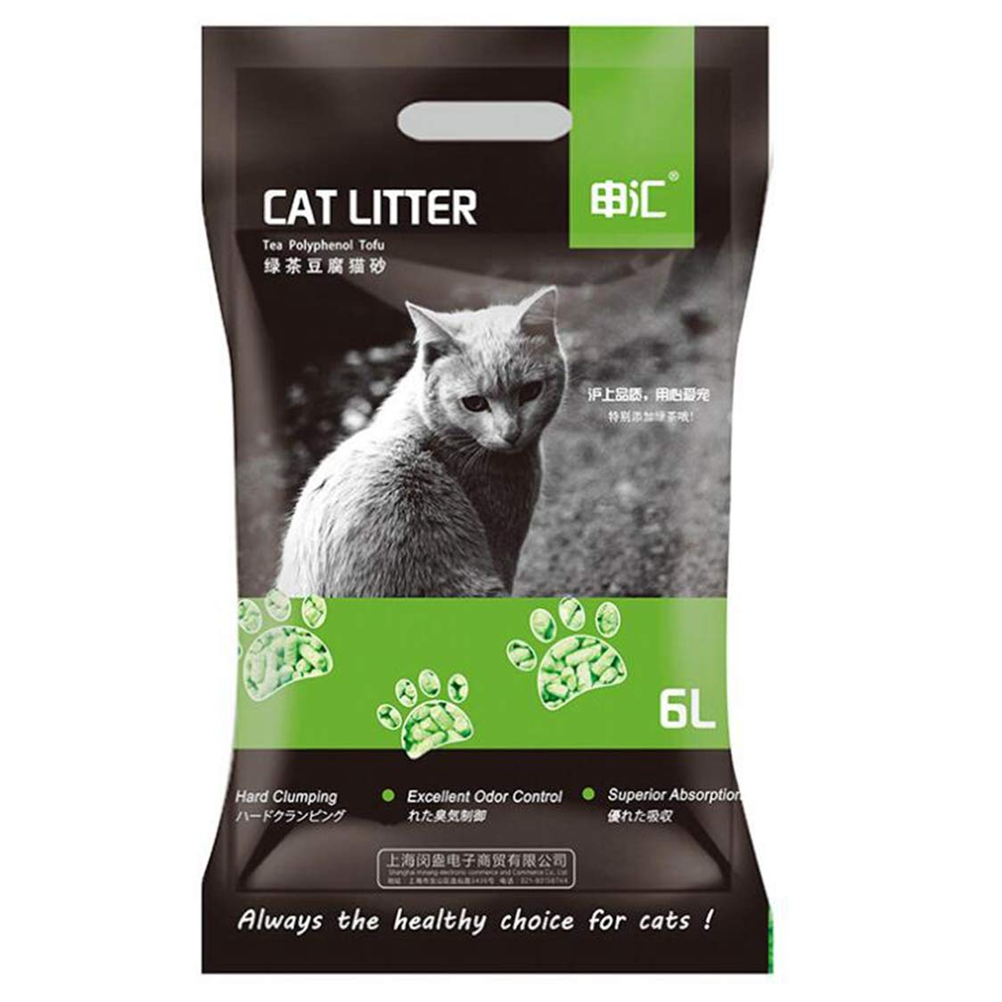 Clay Cat Litter, Cat Litter Tofu, Green Tea Flavored Tofu Cat Litter, Helpless Adhesive Rejects Formaldehyde, 6L Vacuum Packaging