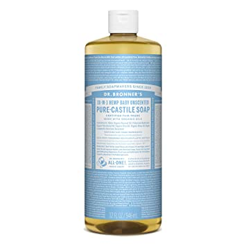 Dr  Bronner's - Pure-Castile Liquid Soap (Baby Unscented, 32 ounce) - Made  with Organic Oils, 18-in-1