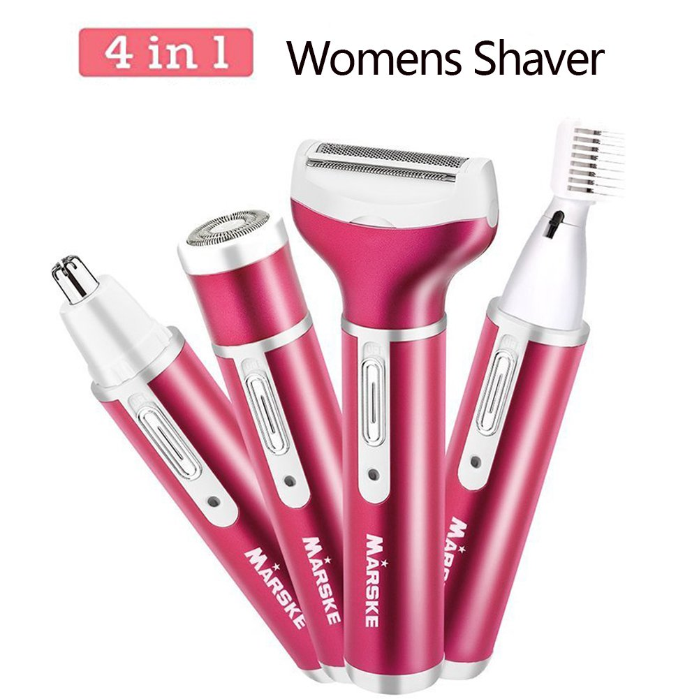 Electric Womens Shaver, Sunblue 4 in 1 USB Charging Rechargeable Wet/Dry Use for Bikini Trimmer/Nose Hair Trimmer/Eyebrow Shaper/Body Shaver Flawless Painless Ladies Razor (Rose) 12881477