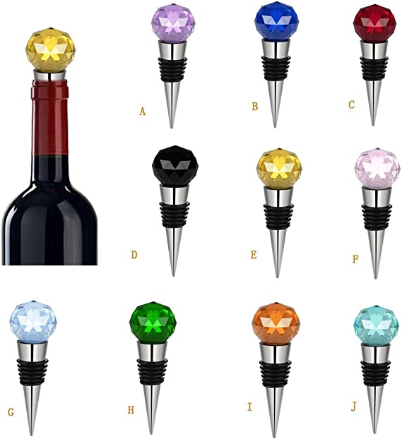Jonerytime30mm Diamond Crystal Stainless Steel Champagne Stopper Sparkling Wine Bottle Plug Sealer Convenient