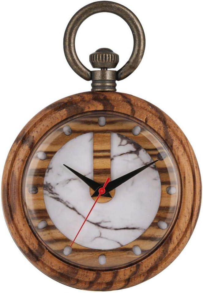 GOHHK Montre Poche rétro Unique Quartz en Bois Blanc Mode Vert Motif marbrure Cadran Brun Clair Boîtier en Bois Pendentif Montre Horloges White